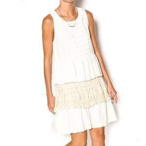 Anthro IDA CLAIRE Ruffle crochet linen dress M